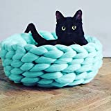 Super Chunky Knit Cat Bed,Pet Bed,Chunky Cat House,Bulky Yarn Cat Bed,Cat Furniture,Cat Cave,Cat Bedding,Wool Cat Bed,Custom Made (16in, Mint)