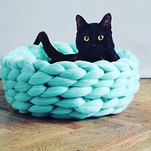 Super Chunky Knit Cat Bed,Pet Bed,Chunky Cat House,Bulky Yarn Cat Bed,Cat Furniture,Cat Cave,Cat Bedding,Wool Cat Bed,Custom Made (16in, Mint) ()