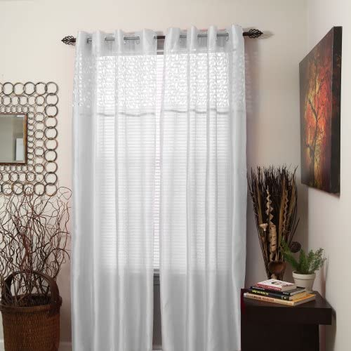 Bedford Home Alla Grommet Curtain Panel, 95-Inch, White