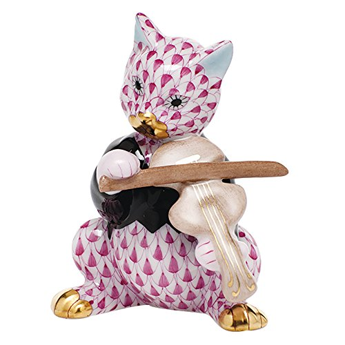 - Herend Cat with Fiddle Figurine Raspberry Fishnet