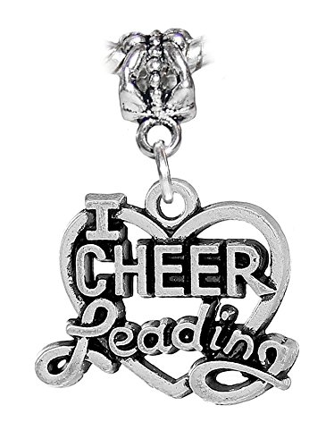 I Heart Cheerleading Cheerleader Love Cheer Charm for European Bracelets