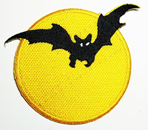Cute Halloween Diy Crafts (HHO Bat Batman Full Moon Halloween Skeleton Patch Embroidered DIY Patches, Cute Applique Sew Iron on Kids Craft Patch for Bags Jackets Jeans)