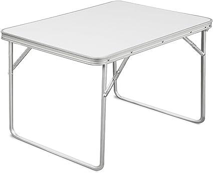 Deuba Mesa de camping plegable blanco de Aluminio mesa de playa Blanca portátil 80x60x70cm DM con Mango de transporte