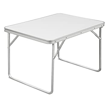 Folding White Camping Table Portable Party Outdoor Garden Picnic BBQ And  Coffee Snack Dining Foldable Aluminium
