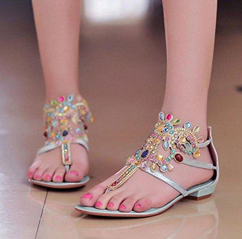 Casual Diamond zapatos Flip Flop gran grano de blue cuentas Zapatillas de verano tamaño Bohemio Sandalias zapatos Sandals Mujeres fFEqwxOPPv