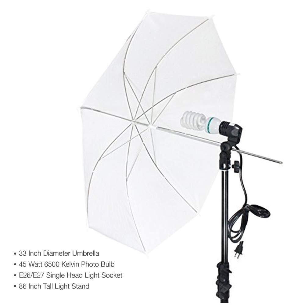 LimoStudio Photography White Photo Umbrella Light Lighting Kit, AGG1754 by LimoStudio