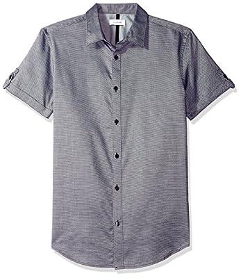 Calvin Klein Men's Short Sleeve Oxford Dobby Weave Button Down Shirt