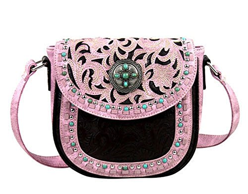Montana West Turquoise Concho Messenger Bag Purse Pink Brown