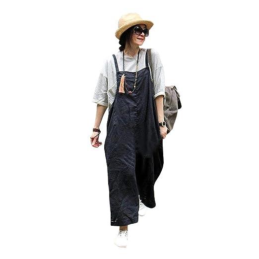 Buykud Womens Overalls Linen Cotton Pants Women One Piece Garment Jumpsuit