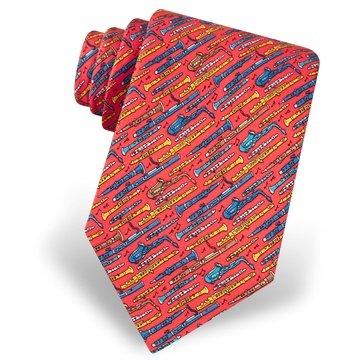 100% Silk Red Mighty Woodwinds Musical Instruments Necktie Tie Neckwear