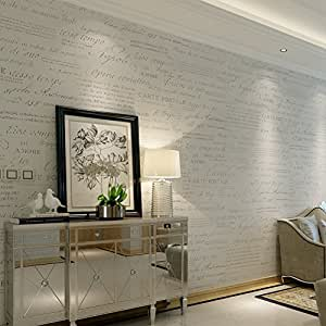HANMERO® Murales decorativos pared letras inglesas papel pintado vintage no tejido papel de pared dormitorios/salón/hotel/fondo de TV/color blanco, 0.53M*10M