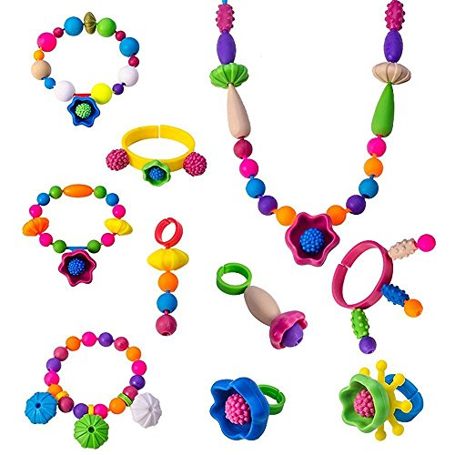 Snap Pop Beads Girls Toy - Happytime 180 Pieces DIY Jewelry Kit Fashion Fun for Necklace Ring Bracelet Art Crafts Toys for 3, 4, 5, 6, 7 ,8 Year Old Kids Girls