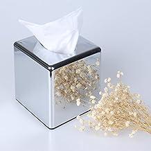 Cube Mirror Square Tissue Box Cover Holder Kleenex Napkin Holder Bathroom Organizer Stand Stainless Steel Finish