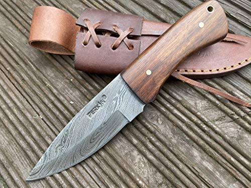 Perkin Hunting Knife with Sheath Damascus Steel Full Tang BT11