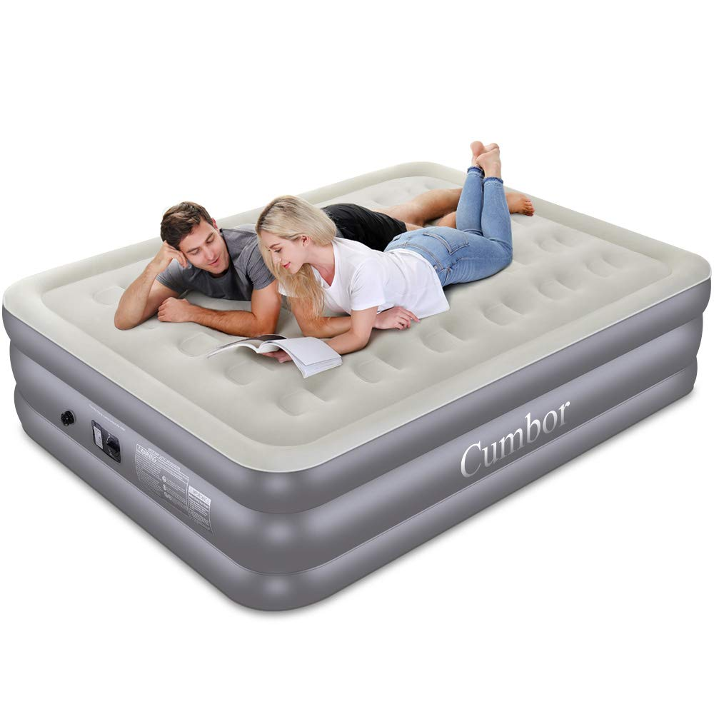 Cumbor Queen Air Mattress with Built-in Pump, Luxury Queen Size Inflatable Airbed with Air Coil Technology - Elevated Raised Double High Air Mattress, 80 x 60 x 18 inches, Grey by Cumbor
