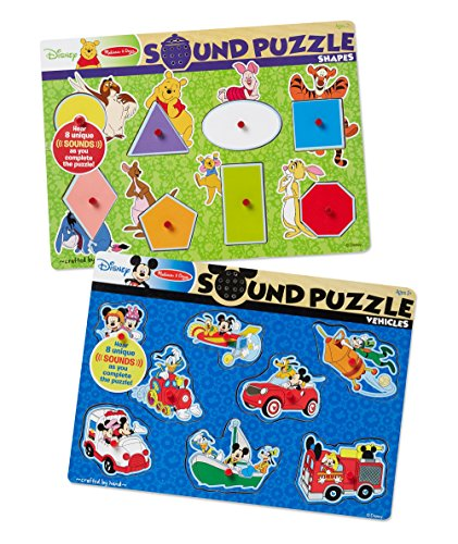 Doug Shapes Sound Puzzle - Melissa & Doug Disney Sound Puzzles Set: Winnie the Pooh Shapes and Mickey Mouse Vehicles
