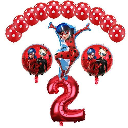 Miraculous Ladybug Foil Balloons Birthday Party Decorations Number Ladybug Helium Mylar Latex Balloon Globos Wholesale - 14PCS -