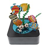 Bylion Magnetic Sculpture Desk Toy Stress Reliever Decoration for All Ages - Square Base and Colorful Fish