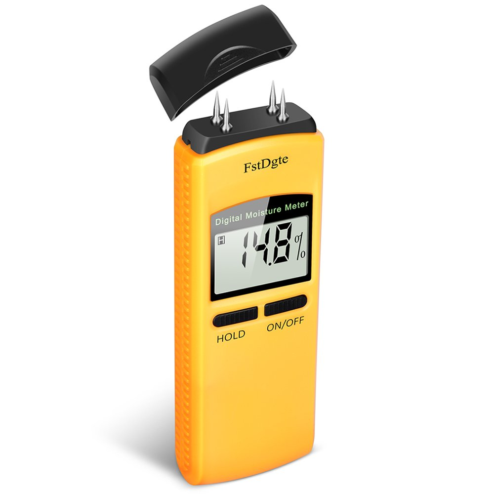 Digital Wood Moisture Meter - Portable Wood Moisture Meter with Large LCD Display, 4 Electrode Pins, Measuring Range of 10% - 40%, 0.1% Resolution, for Detecting Leaks, Damp and Moisture in Wood.