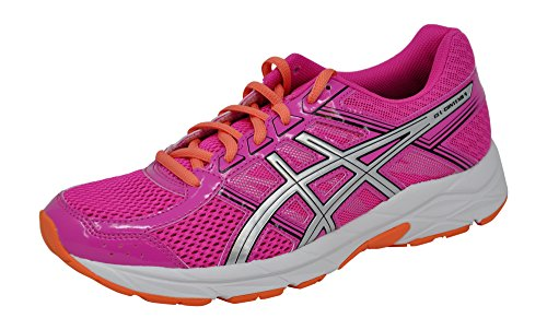ASICS Womens Gel-Contend 4 Running Shoe, Pink Glow/Silver/Black, 8 B(M) US