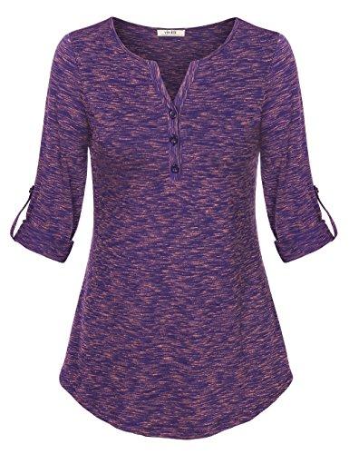 Women Henley Tops,Vivilli's Vintage T Shirt Henley V Neck Cuffed Sleeve Space Dyed Blouse Orange Purple (Plus Size 90s Fancy Dress)