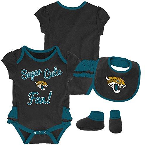 (Outerstuff NFL NFL Jacksonville Jaguars Newborn & Infant Mini Trifecta Bodysuit, Bib, and Bootie Set Black, 0-3 Months )