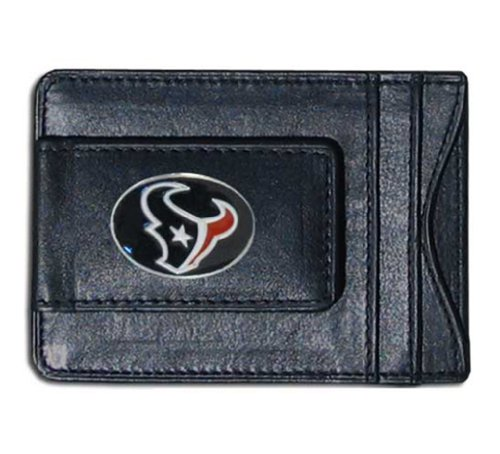 Houston Texans Card Holder - Houston Texans Black Leather Card Holder and Magnetic Money Clip