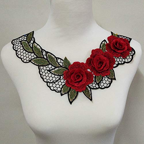 (Red 3D Red Embroidered Fabric Rose Flower Venise Lace Sewing Applique Lace Collar Neckline Collar Applique Accessories)