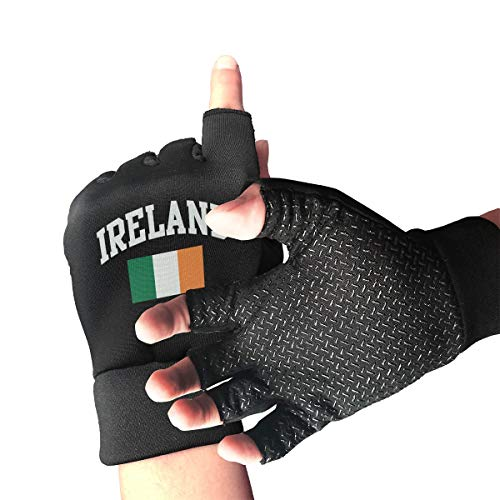 Bike Slip-Proof Vintage Ireland Irish Flag Green St. Patrick's Day Half Finger Short Gloves Working Gloves]()