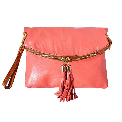 leather folded soft 9602 leather cow clutch cow soft Salmon twpxgq