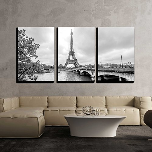 Paris Eiffel Tower from Seine Cityscape in black and white x3 Panels