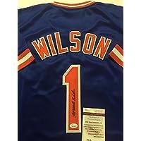 fan products of Autographed/Signed Mookie Wilson New York Mets Blue Baseball Jersey JSA COA