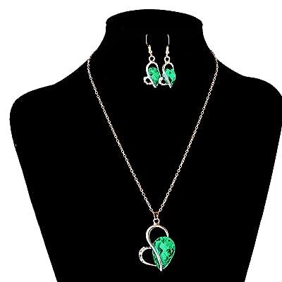 milageto Fiesta De Boda Crystal Love Heart Gargantilla Collar Pendientes Conjunto De Joyas - Verde: Juguetes y juegos