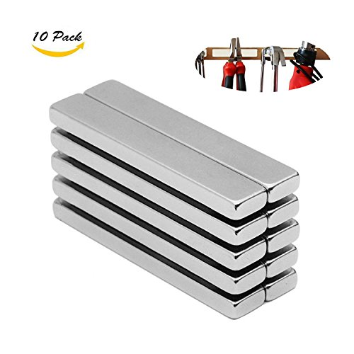 Wukong Rare Earth Neodymium Bar Magnets Powerful Permanent for Fridge, DIY, Building, Scientific, Craft, and Office Magnets, 60 X 10 X 5MM - Pack of 10. by Wukong
