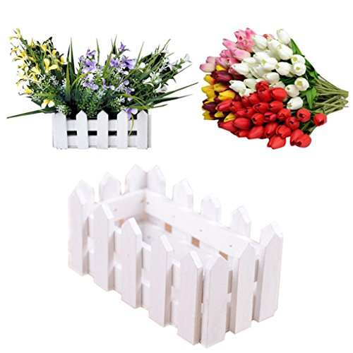 Goodtrade8 Gotd Wood Picket Decorative Fence Planter For Home Decor,Wedding Decor, Flower Bed Fencing