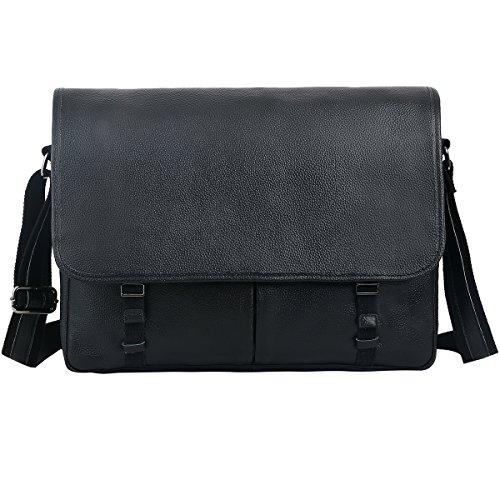 Leathario Men's Leather Shoulder Bag 14inch Laptop Bag Messenger Bag Crossbody Bag Satchel Bag (Black-52) -