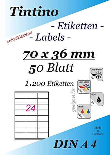 ETIKETTEN 70 x 36 mm selbstklebend A4 weiß Laser Inkjet Kopierer 3475 500 Blatt