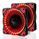 2 Pack LeaningTech LTC LitFlow 120mm 32 LED Quiet Long Life High Airflow Cooling PC Case fan for Computer Case, CPU Cooler and Radiator Red