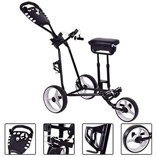 BeUniqueToday Foldable 3 Wheels Push Pull Golf Club Cart Trolley w/Stool, Foldable 3 Wheels Push Pull Golf Club Cart Trolley with Two Functional Foot Operated Brakes, Golf Club Cart Trolley w/Stool