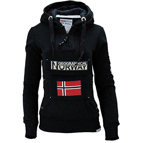Nero Maniche Donna Geographical Con Felpa Lunghe Cappuccio Basic Norway wAqAH8Z