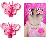 juDanzy pink baby girl butterfly hair bow clips
