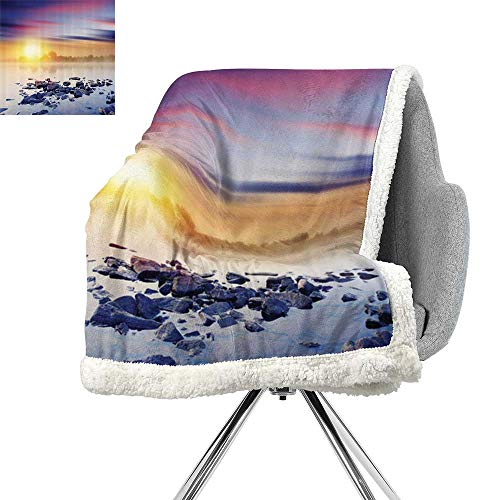 Lake House Decor Blanket Small Quilt,Magic Summer Sunset in The River with Northern Lights in The Sky Rocks Universe Art Photo,Multi,Flannel Throw Blanket Lightweight Soft Warm Blanket