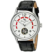 Lucien Piccard Men's 'Transway' Automatic Stainless Steel and Leather Casual Watch, Black (Model: LP-15038-02S)