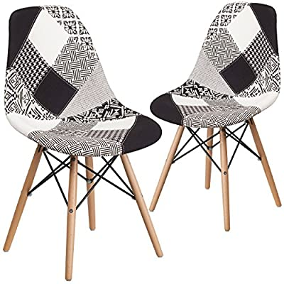 Flash Furniture 2 Pk. Elon Series Turin Patchwork Fabric Chair with Wooden Legs - Accent side chair Turin patchwork fabric upholstery Waterfall Seat reduces Leg strain - kitchen-dining-room-furniture, kitchen-dining-room, kitchen-dining-room-chairs - 51ynp9iAPkL. SS400  -