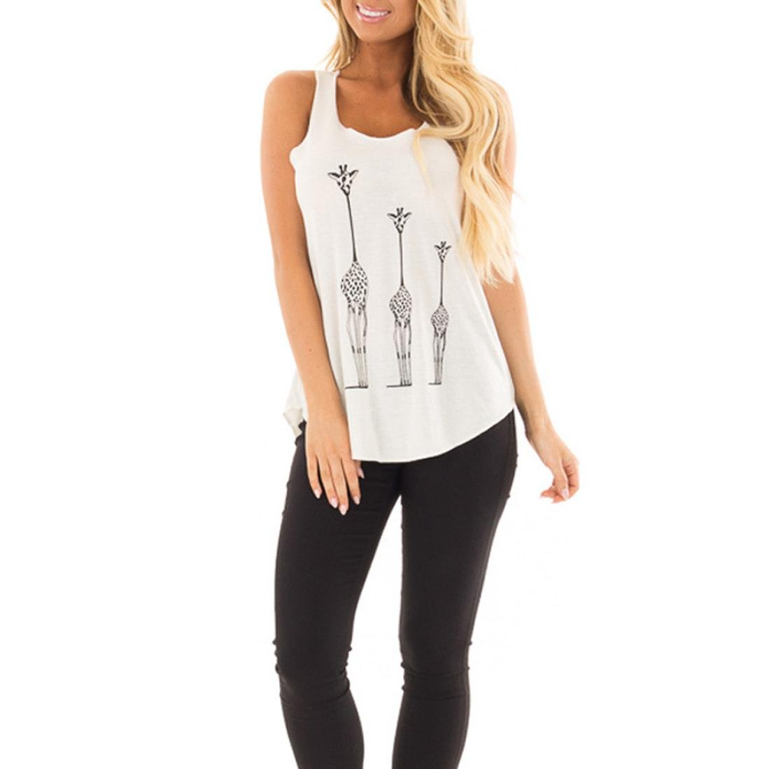 Paymenow Tank Tops For Women, Women Fashion Summer Vest Casual Giraffe Print Sleeveless Loose Fits Shirts Blouse (XL, White)