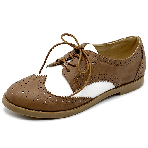 Ollio Women's Flat Shoe Wingtip Lace Up Two Tone Oxford M2913(8.5 B(M) US, - Wing Tips Womens