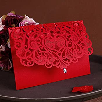 Amazon womhope 50 pcs classic red color laser cut lace card womhope 50 pcs classic red color laser cut lace card wedding invitation party folding stopboris Images