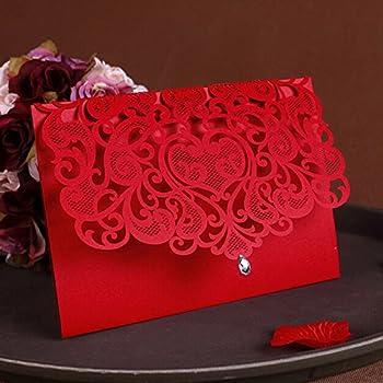 Amazoncom WOMHOPE 50 Pcs Classic Red Color Laser Cut Lace Card