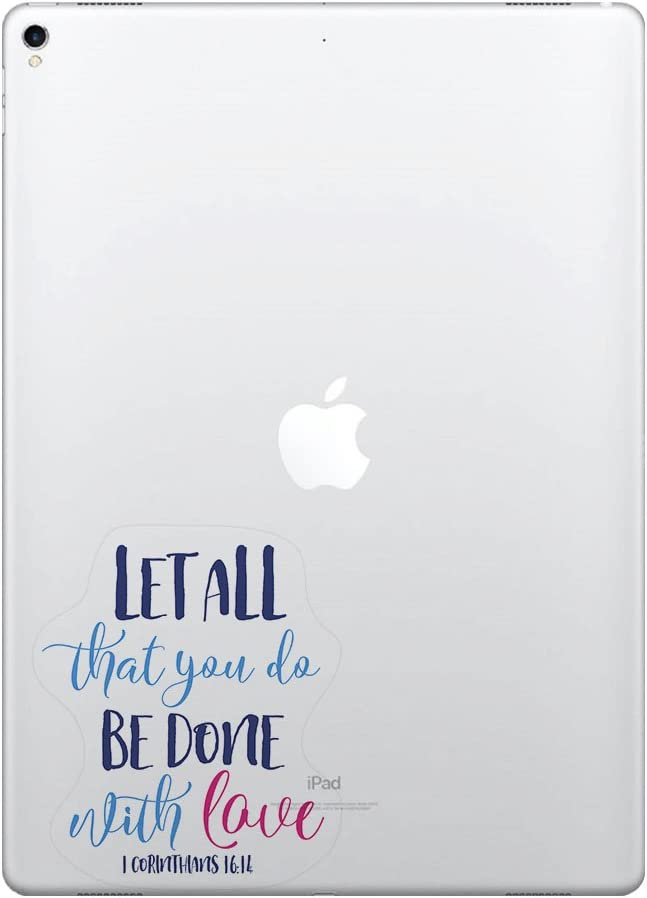 FINCIBO 5 x 5 inch Christian Bible 1 Corinthians 16:14 Removable Vinyl Decal Stickers for iPad MacBook Laptop (Or Any Flat Surface)