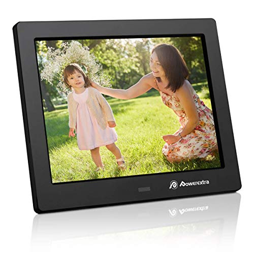 Powerextra 8 inch Digital Photo & HD Video Frame Widescreen High Resolution with Remote Control